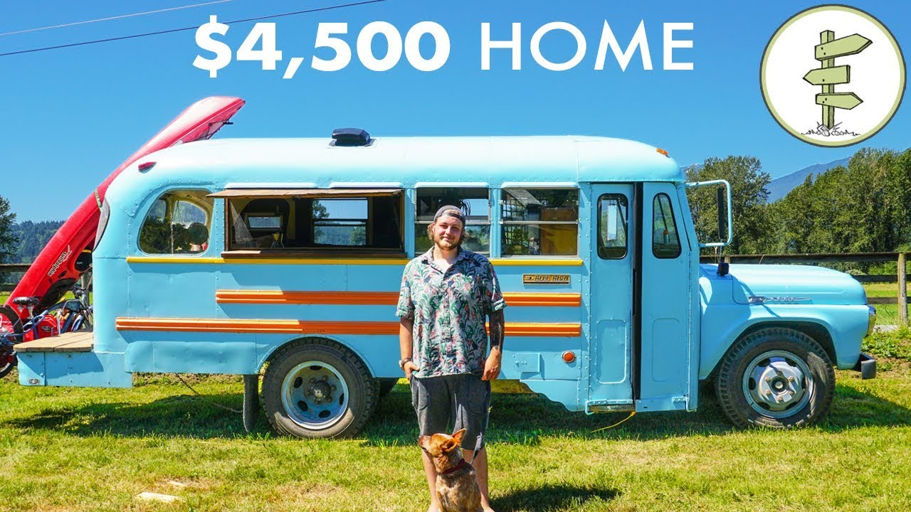 Young Man Builds Stunning School Bus Tiny House for Only $4,500 – Debt Free Mobile Home
