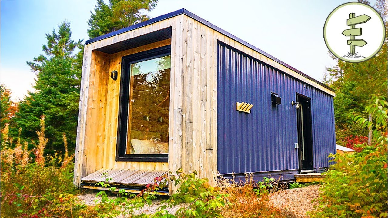 Used Shipping Container Turned into Minimalist Micro Cabin – Full Tour in 4K