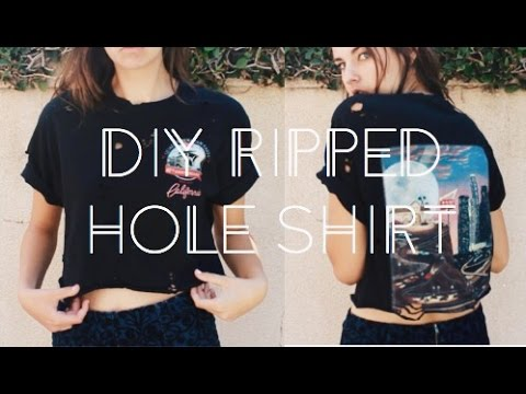 DIY Distressed Hole Shirt