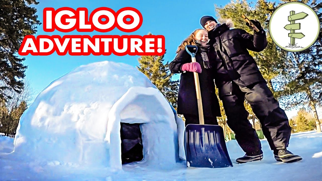 Our Crazy Experience Building & Sleeping in an Igloo! – Winter Camping Snow Fort