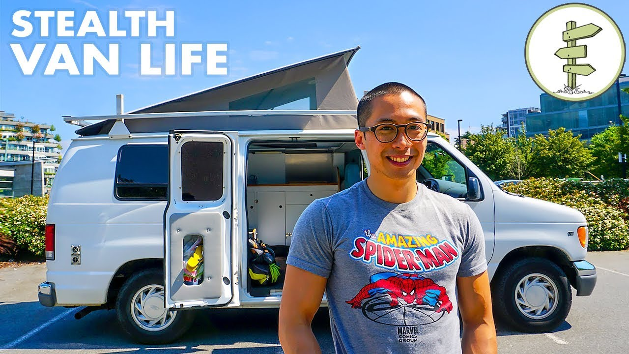 Rock Climber's Awesome Pop Top Stealth Camper Van Tour – Van Life