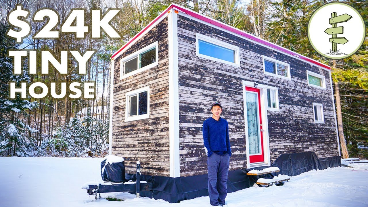 Young Man Builds $24K Tiny House + Winter Living Experience & Tour